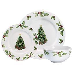 Pfaltzgraff Christmas Day 24 Piece Dinnerware Set, Service f