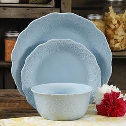 Cowgirl Lace 12-Piece Dinnerware Set Light Blue