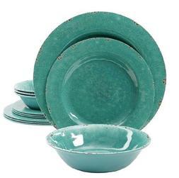 Crackle Green Dinnerware Set Unique 36 Piece Serves 12 Place
