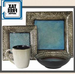 Deluxe Set Dinnerware Square 16 Piece Dishes Plate Mug Stone