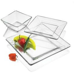 Dinnerware Set 12 Pcs Modern Square Thick Clear Glass Dinner