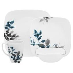 dinnerware set gray leaves porcelain stackable chip