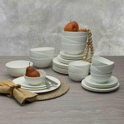 dinnerware set lattice 40 piece white serves