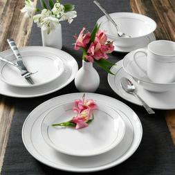 16-Piece Dinnerware Set Service for 4 Round Porcelain White