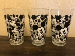 Disney All Over Mickey Mouse SET 3 GLASS TUMBLERS DRINKING G