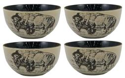 EBROS Dinnerware Pack Of 4 Bison Art Ceramic Bowl Set Home D