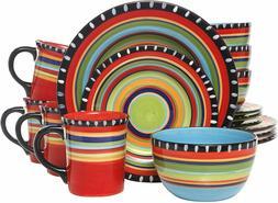 Gibson Elite Pueblo Springs 16-Piece Dinnerware set Mutli-co
