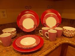 everyday kenna red 16 piece dinnerware set