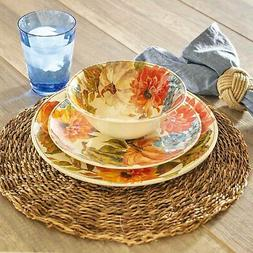 Fall Harvest Melamine Dinnerware 12P Set Indoor Outdoor Pump
