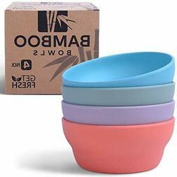 Get Fresh Bamboo Bowls 4 Pack, Bamboo Fiber Dinnerware Set,