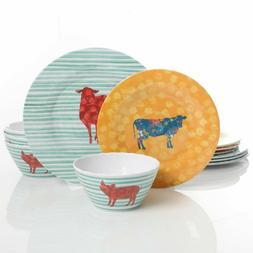 Gibson Life On The Farm 12pc Dinnerware Set, Melamine Outdoo