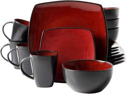 Gibson Soho Lounge 16-Piece Square Reactive Glaze Dinnerware