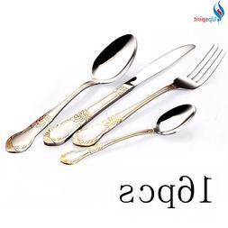 Gold Plated Stainless Steel Tableware Cutlery Set Dinnerware