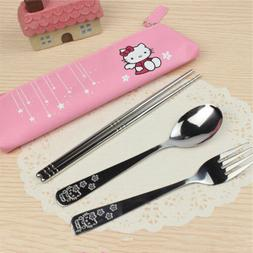 hello kitty dinnerware 3pcs set stainless steel