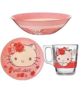 Luminarc 'Hello Kitty Rose Passion' 3-pcs Unbreakable Glass