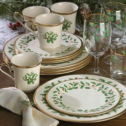 Lenox Holiday Gold Trim 12-Pc Dinnerware Set  ~~FREE SHIPPIN