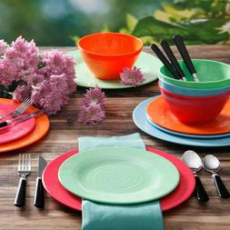 Gibson Home Brela 12-Piece Melamine Dinnerware Set - Bright