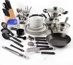 Home Kitchen Cookware Set Pots Pans Dishes Flatware Utensils