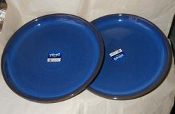 "Denby Imperial Blue Coupe  Dinner Plates 10.25"" set of 2 NEW"