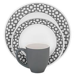 Corelle Impressions 16-Piece Dinnerware Set, Urban Grid, Ser