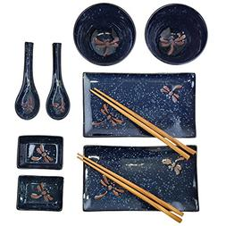 10-Piece Japanese Dinnerware Set BL by Happy Sales