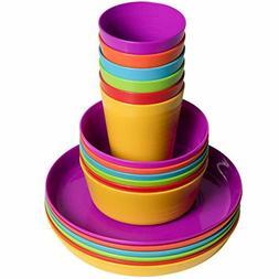 Kids Colorful Plastic Dinnerware Set 18 Piece Set Includes P