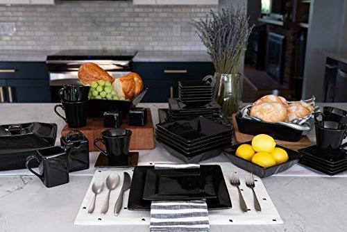 45 Piece Dinnerware Black