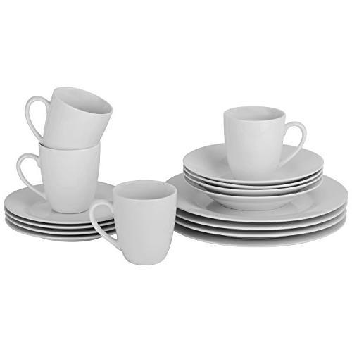 10 simply white round dinnerware