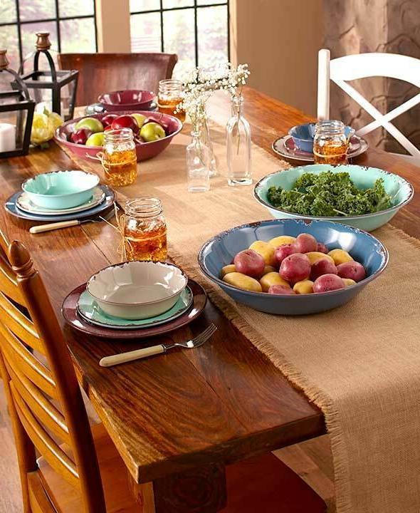 12 pc rustic melamine dinnerware set oversized