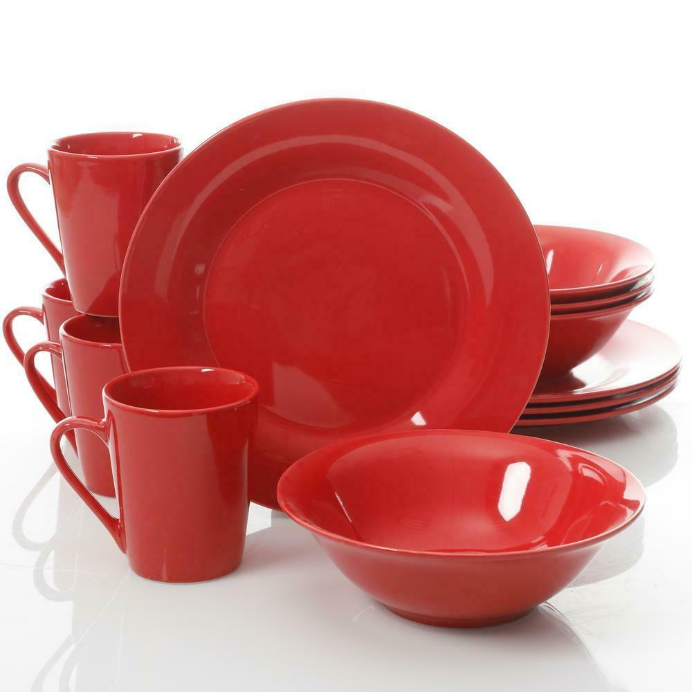 12 Piece Red Dinnerware Set Serving Dishes Kitchen Dining Ta