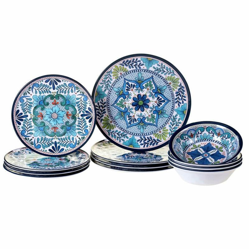 12 piece talavera melamine dinnerware set multicolor