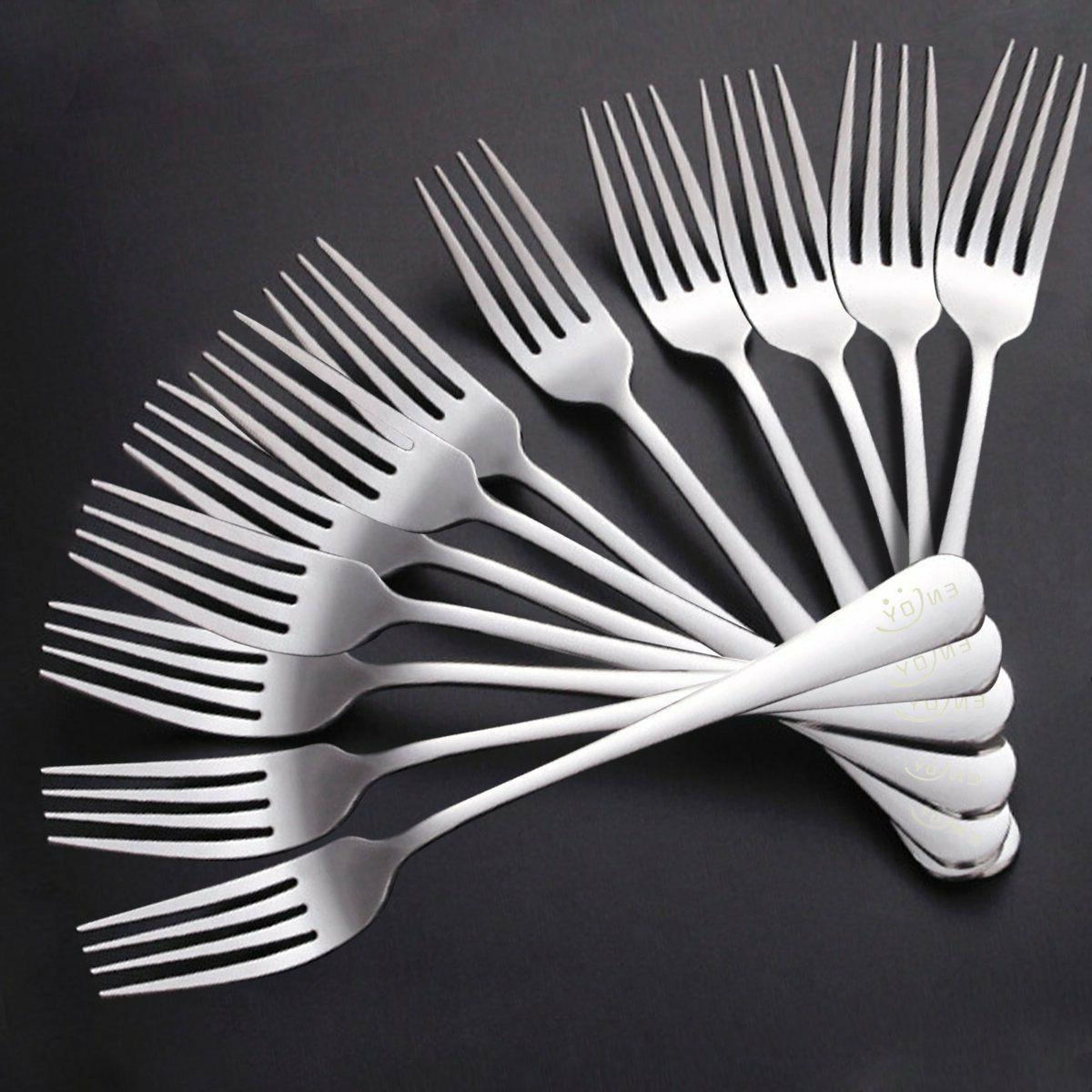 12pcs stainless steel forks dinner silverware polished