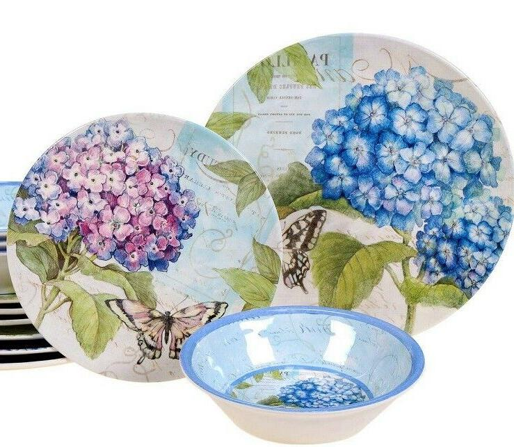 12piece melamine hydrangea and butterflies dinnerware set