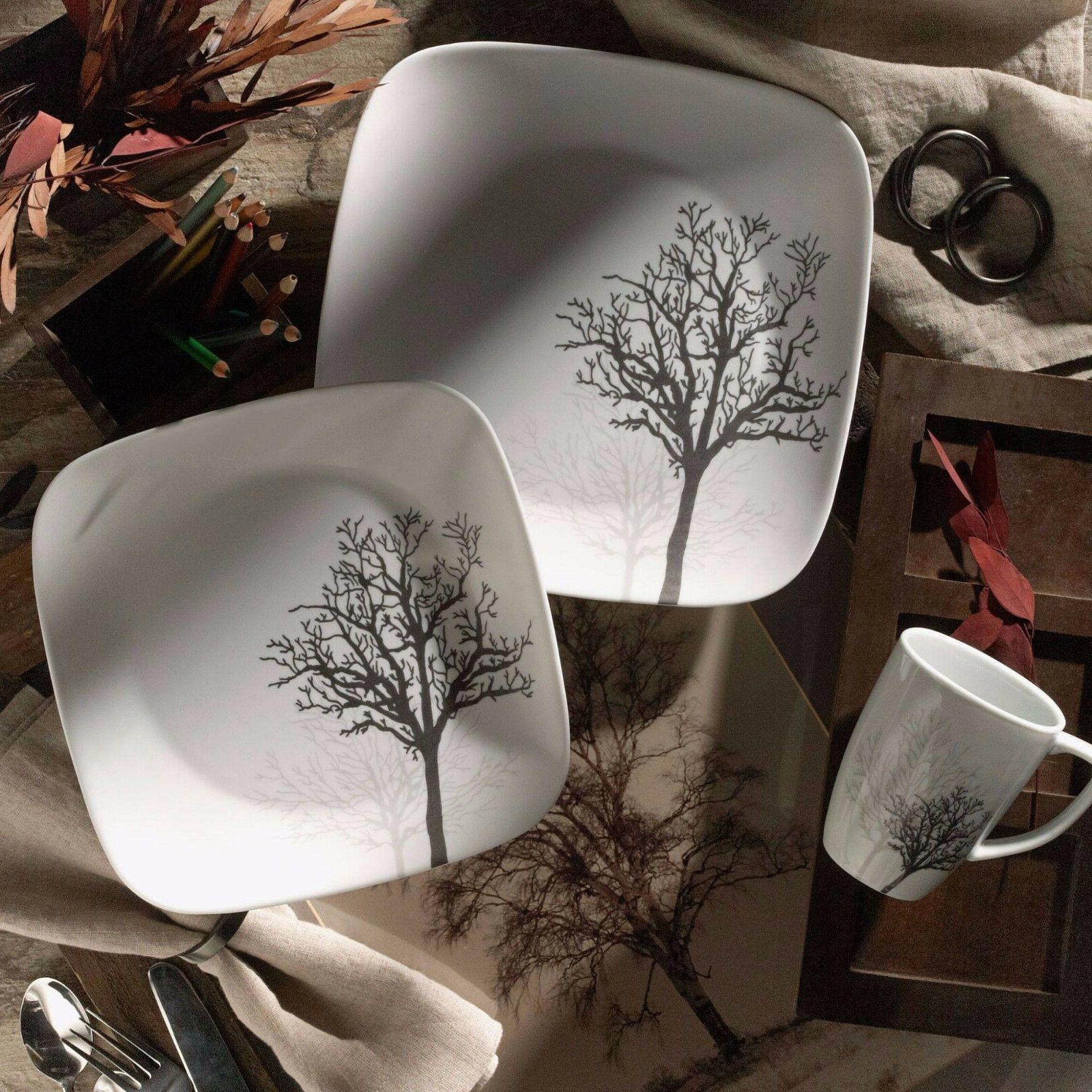 Corelle 16 PC Square Dinnerware Dish Set Timber Shadow Table