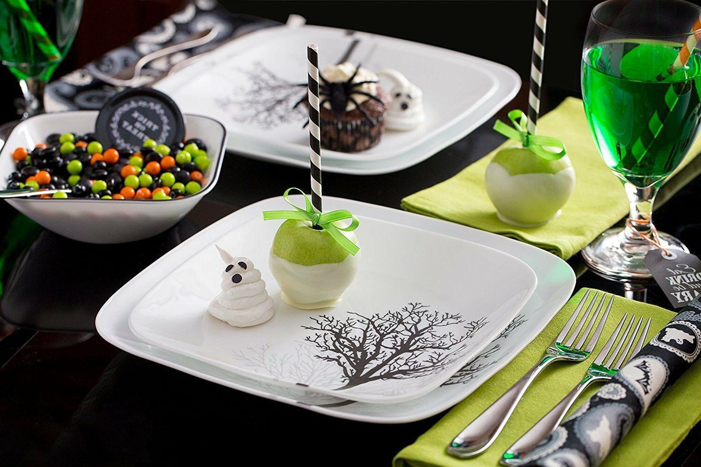 16 PC Square Dinnerware Dish Set Timber Shadow Tree Table St
