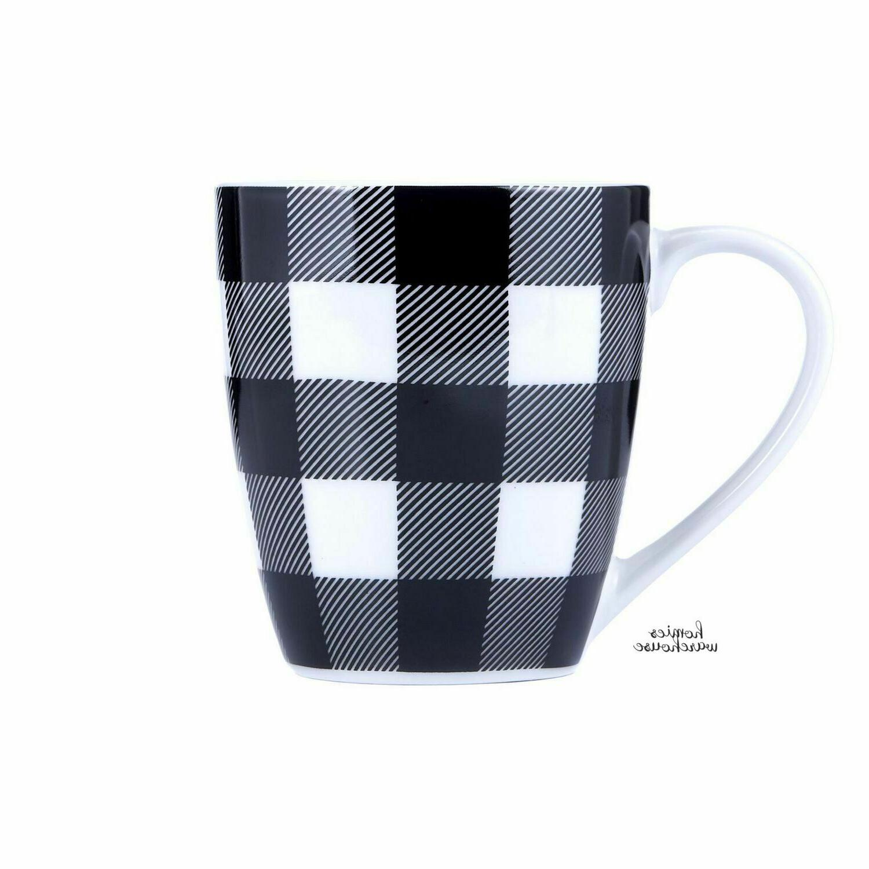 16 Pcs Plaid Dining Bowls Dishes Mug