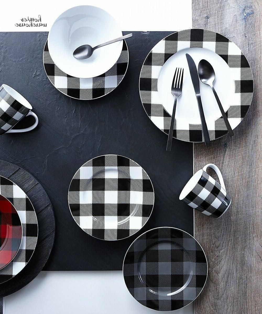 16 Pcs Dinnerware Set Plaid Black Cottage Kitchen Dining Pla