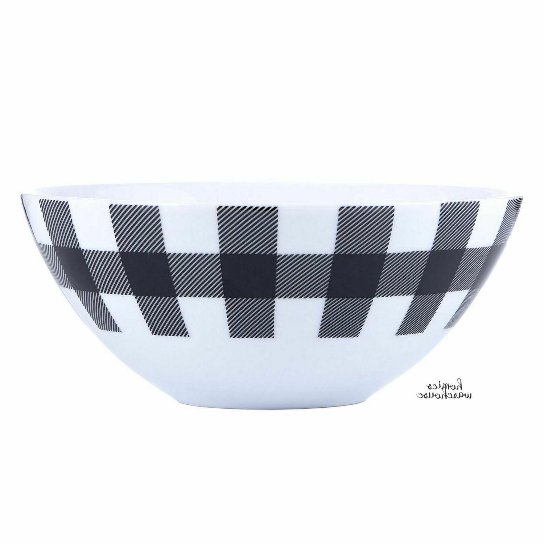 16 Pcs Plaid Black Cottage Kitchen Dining Plates Bowls Mug