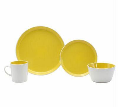 16 piece dinnerware set in burst lemon