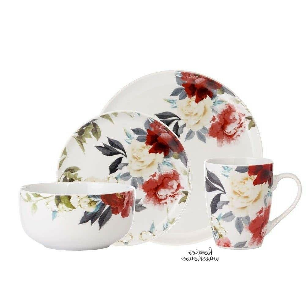 16 Piece Set Porcelain & White Roses Kitchen Plates Dishes