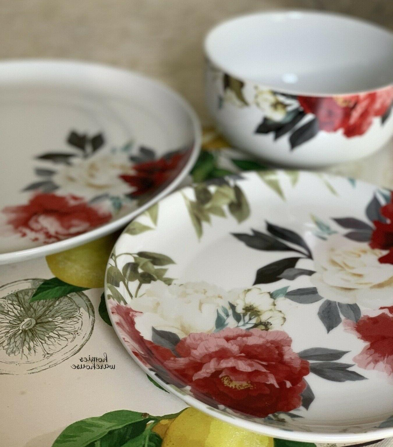 16 Dinnerware Porcelain White Roses Kitchen Dishes