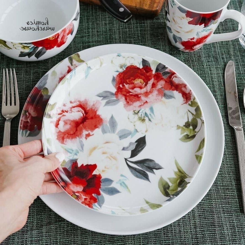 16 piece dinnerware set porcelain red