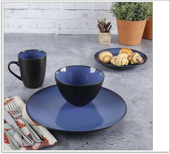 16 Reactive Soho Round Dinnerware Blue, New