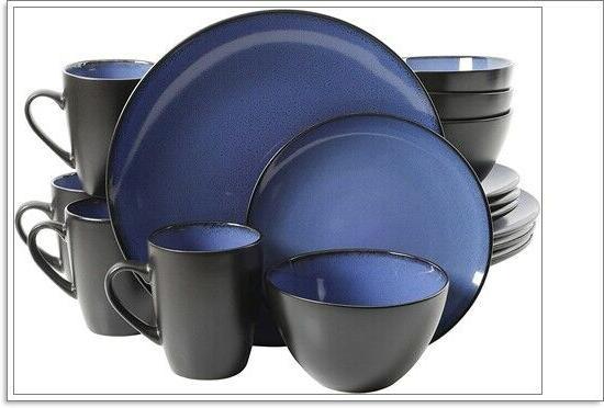 16 piece reactive stoneware soho round dinnerware