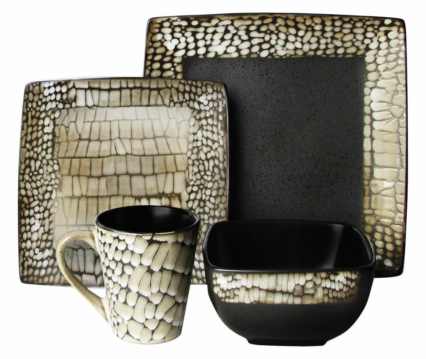 16pc Dinnerware Set Black White Boa Print Plate Bowl Mug Squ