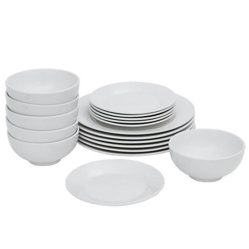 dinnerware set 18 piece plates bowls white