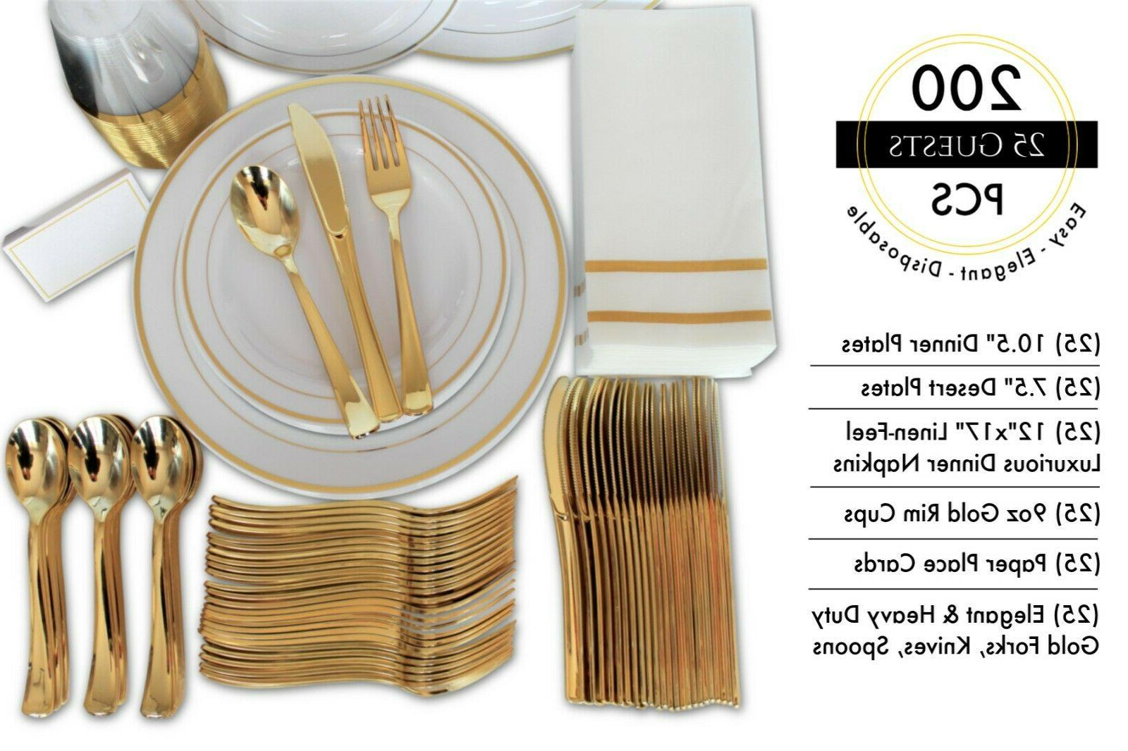 200 Piece Disposable Set & Plates for Party Guests