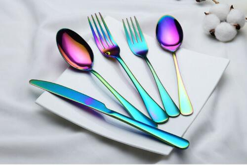 20PCS/Set Rainbow Dinnerware Knife Fork Spoon Flatware