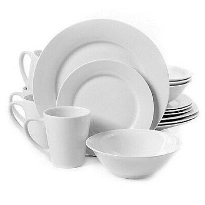32-Piece Dinnerware Set in White Gibson Home Noble Court Ser