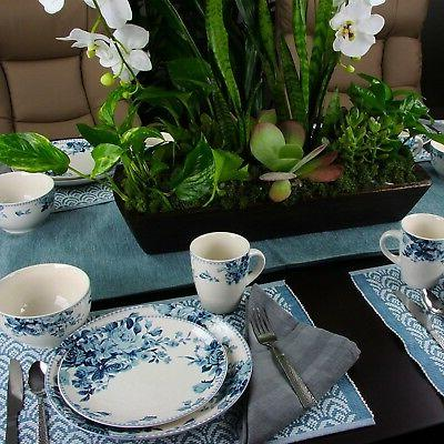 32 Traditional Rose Stoneware Dinnerware Set Service for 8